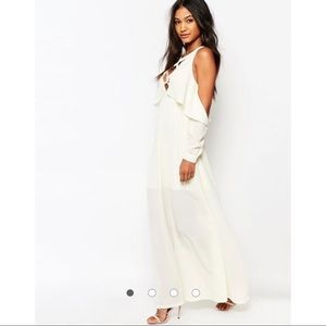 Boohoo Lace Up Cold Shoulder Ruffle Maxi Dress